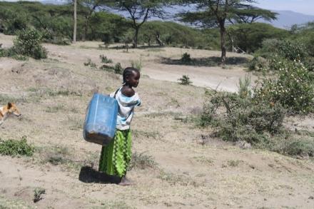 11-jarig meisje heeft water gehaald uit een put.